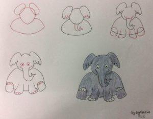 Basit Resim Teknikleri İle Fil Çizimi