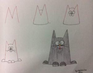 Basit Resim Teknikleri İle Kedi Çizimi