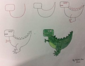 Basit Resim Teknikleri İle Dinazor Çizimi