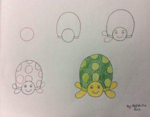 Basit Resim Teknikleri İle Kaplumbağa Çizimi