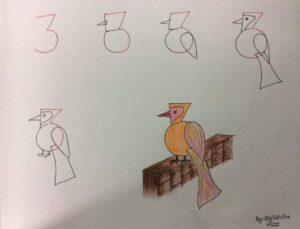 Basit Resim Teknikleri İle Kuş Çizimi